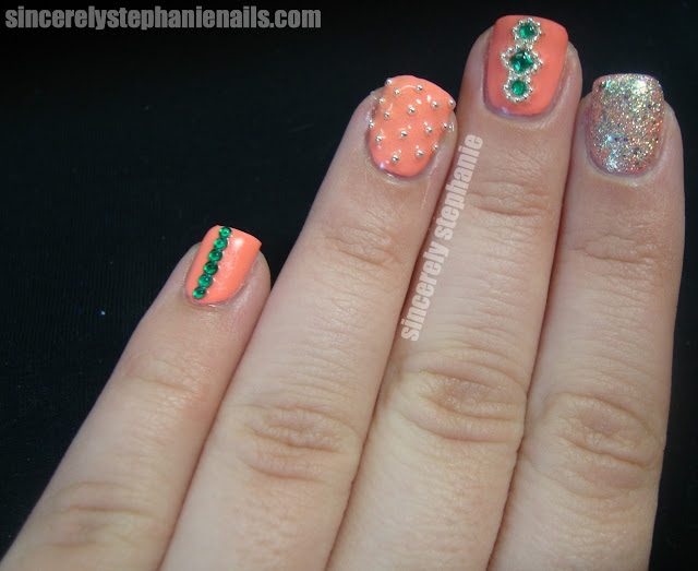essie haute as hello green rhinestones nail art