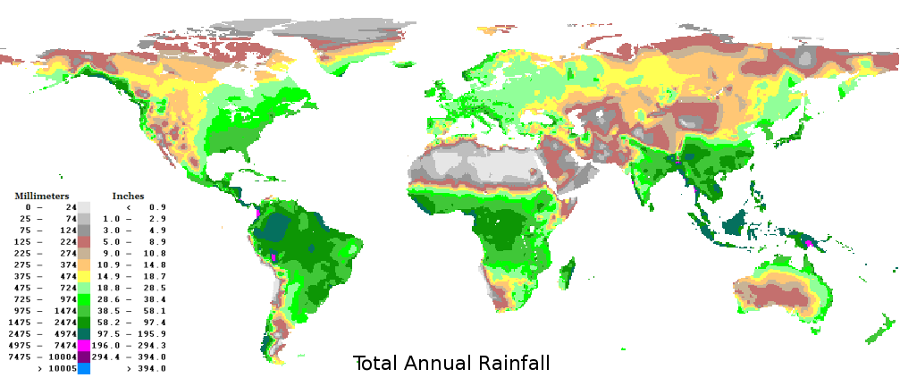 Climate regions world map showing average annual rainfall.