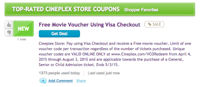 RetaileMeNot.ca Cineplex Movie Voucher Visa Checkout #RMNchallenge