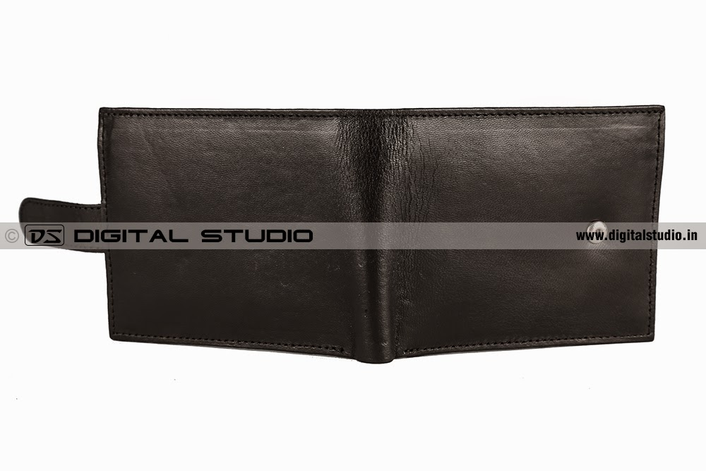 Back and front of a black leather wallet