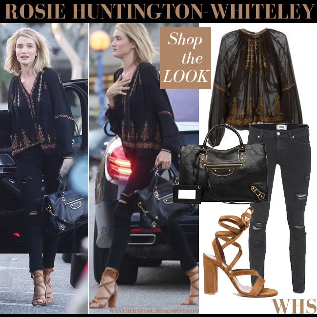 Rosie Huntington-Whiteley in black embroidered boho Etro blouse, black skinny Paige Denim Verdugo Ramone jeans and brown suede Gianvito Rossi sandals what she wore june 16 summer style