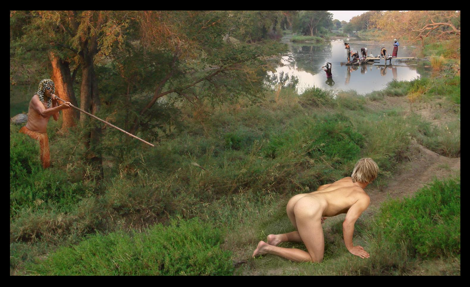 naked guy in jungle