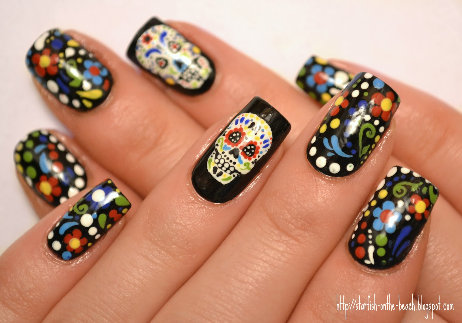 Starfish on the Beach: Feliz Día de los Muertos and 31 Day Nail Art ...