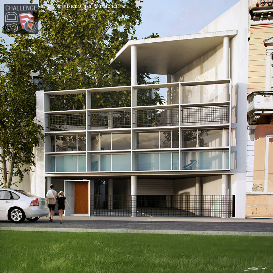 Sketchup texture 3d challenge le corbusier casa curutchet - Le corbusier casas ...