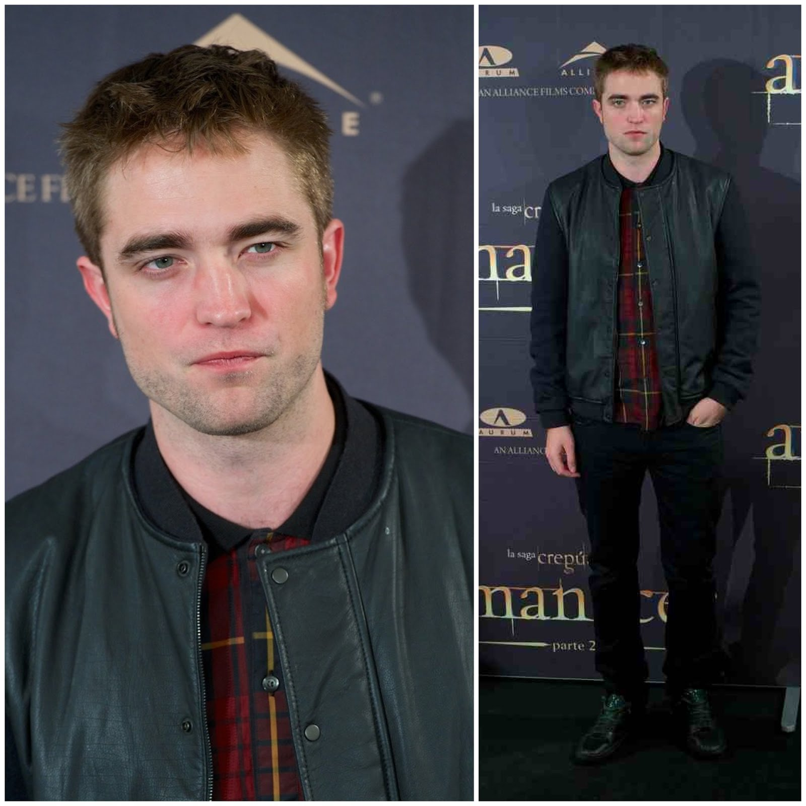 00O00 London Menswear Blog Celebrity Style Robert Pattinson The Twilight Saga: Breaking Dawn - Part 2 Madrid Spain Lanvin leather jacket McQ Alexander McQueen tartan shirt