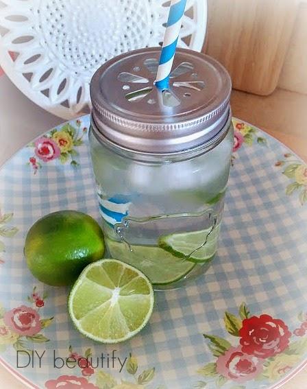 Mason Jar as a drinking glass www.diybeautify.com