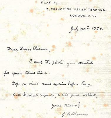 Reverso de la postal que Sir G. A. Thomas, envió a Àngel Ribera en 1930