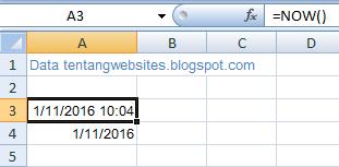 Cara menampilkan jam, tanggal di Ms excel