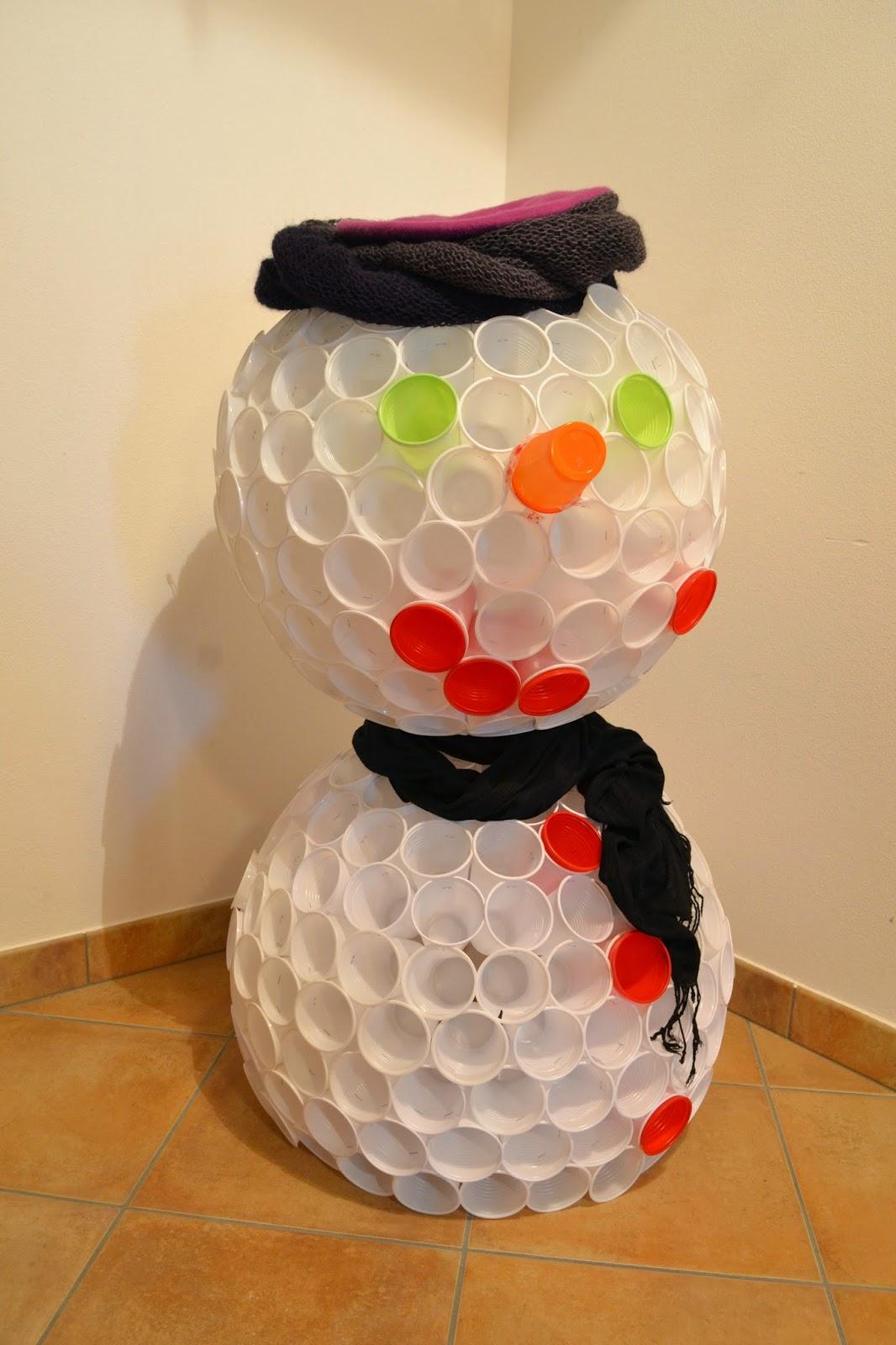 Cómo Hacer Un Muñeco De Nieve Luminoso Con Vasos De Plástico
