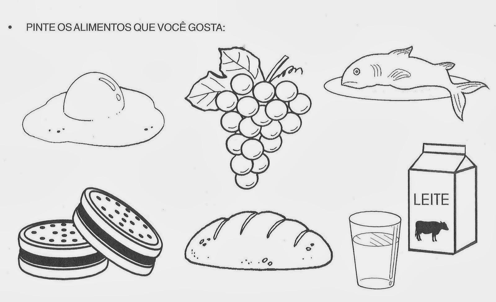 Atividades sobre Alimentação - Pinte os alimentos
