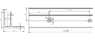 Eloxeret- aluminium bundprofil. Glas Rækværk kan derfor monteres uden lodrette stolper.