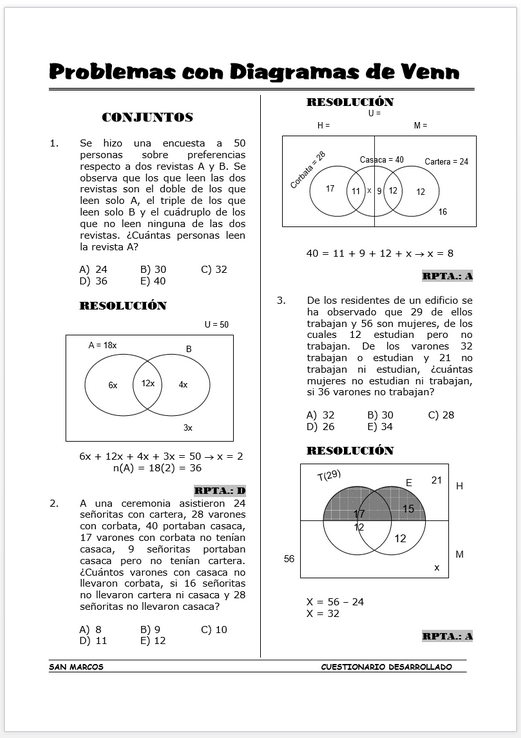 Problemas Resueltos De Diagramas De Venn: Diagramas de Venn con 3 Conjuntos - Problemas Resueltos « Blog del ,Chart