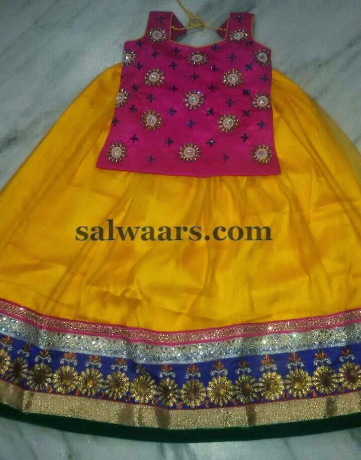 Yellow Pure Silk Skirt 4800INR