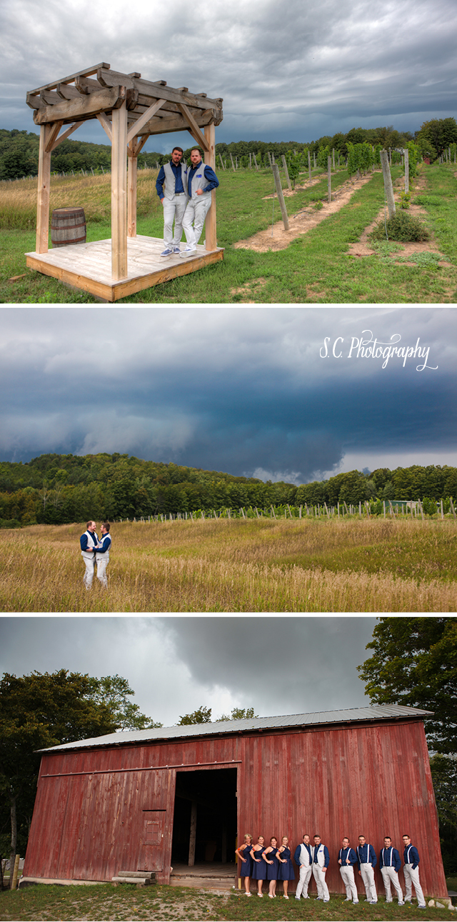 Forty-Five North Vineyard Wedding, Wedding Party, Stormy sky, field, barn, Gay Michigan Wedding, S.C. Photography, Traverse City
