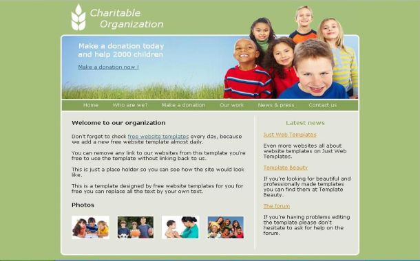 Psd css web 2 0 website template one of the free charity psd html css