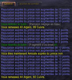 Points de réputation Le Prince Noir