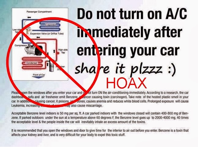 hoax fact do not turn on ac immediately after entering your car. Black Bedroom Furniture Sets. Home Design Ideas