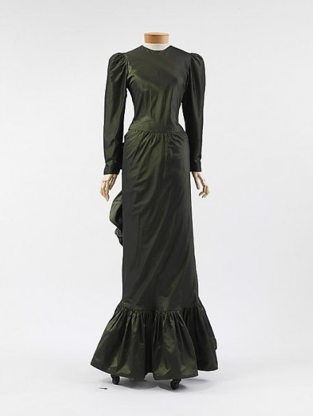 Iridescent Green Victorian Evening Dress