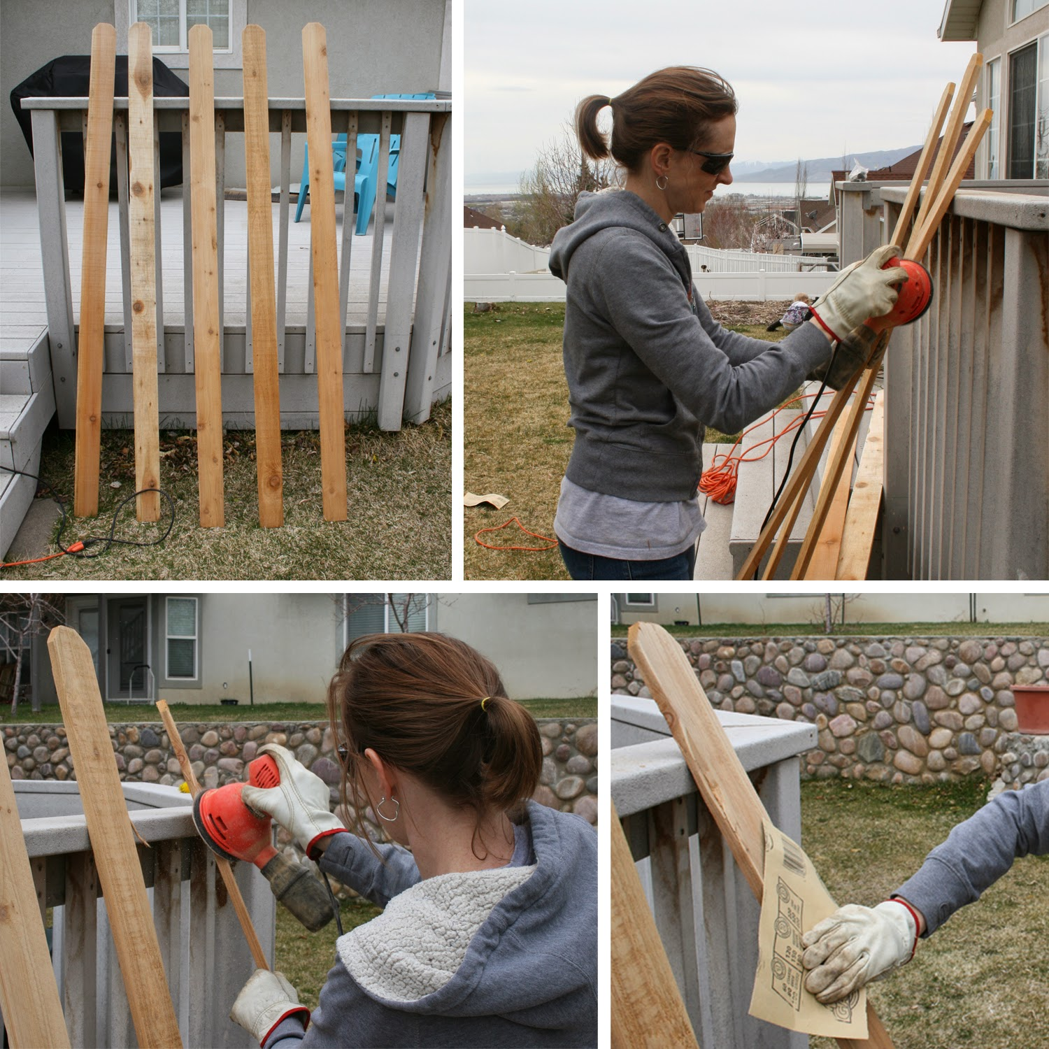 Hand sanding fence posts for a DIY outdoor herb garden