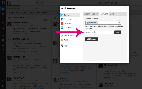 Add search and keyword streams to Hootsuite screenshot