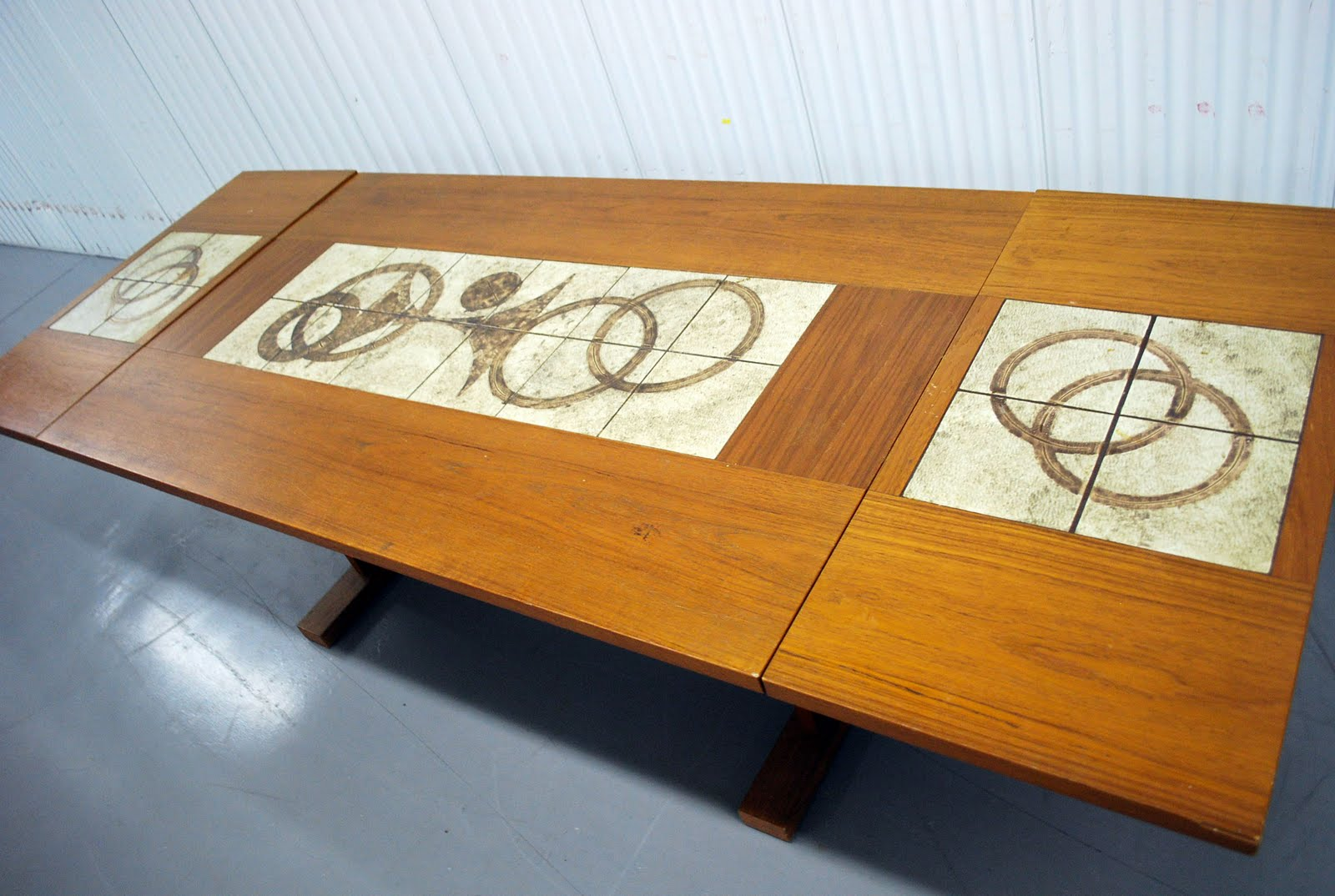 century danish modern teak tile drop leaf dining table with 4 chairs