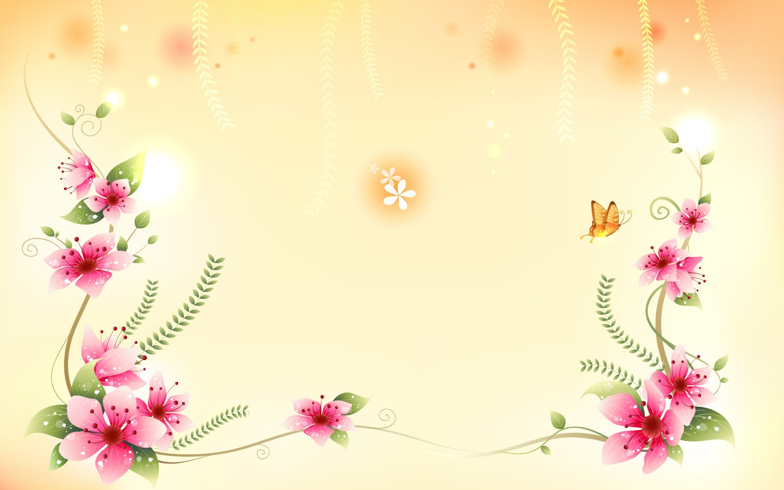Red Flowers in Full Bloom a Lovely Butterfly is Around Setting is Light Orange What a Wonderful World Cartoon Flowers Wallpaper
