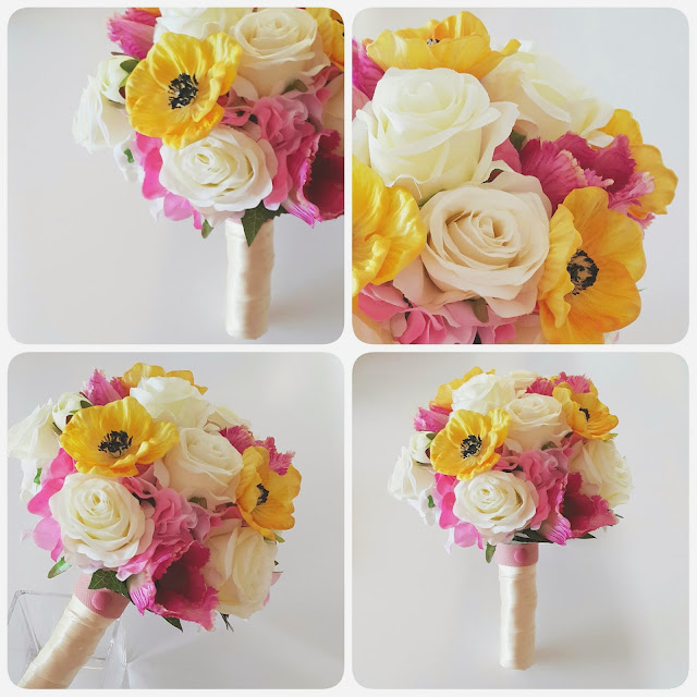 the eye-catching fuchsia hydrangea, white roses and yellow anemone bouquet