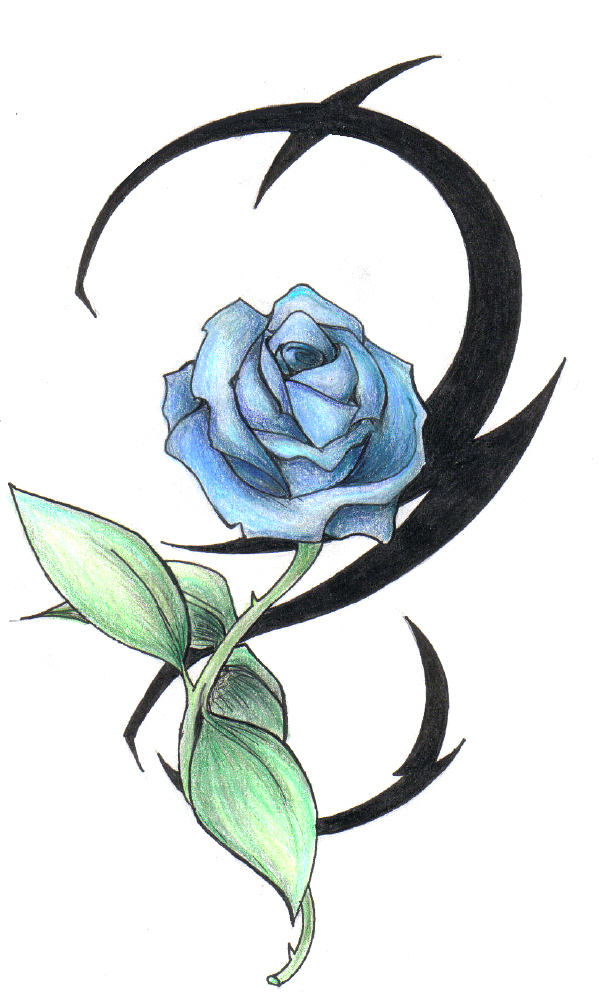 Tattoo in gallery tribal blue rose tattoos for Tribal rose tattoo designs