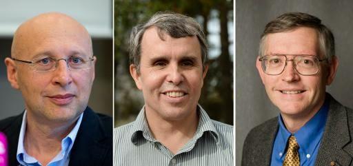 (A partir da esquerda) Stefan Hell, Eric Betzig e William Moerner
