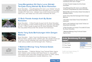 NU Garis Lurus Mengalah NU Garis Tengah di Blog Bulan Ramadlan