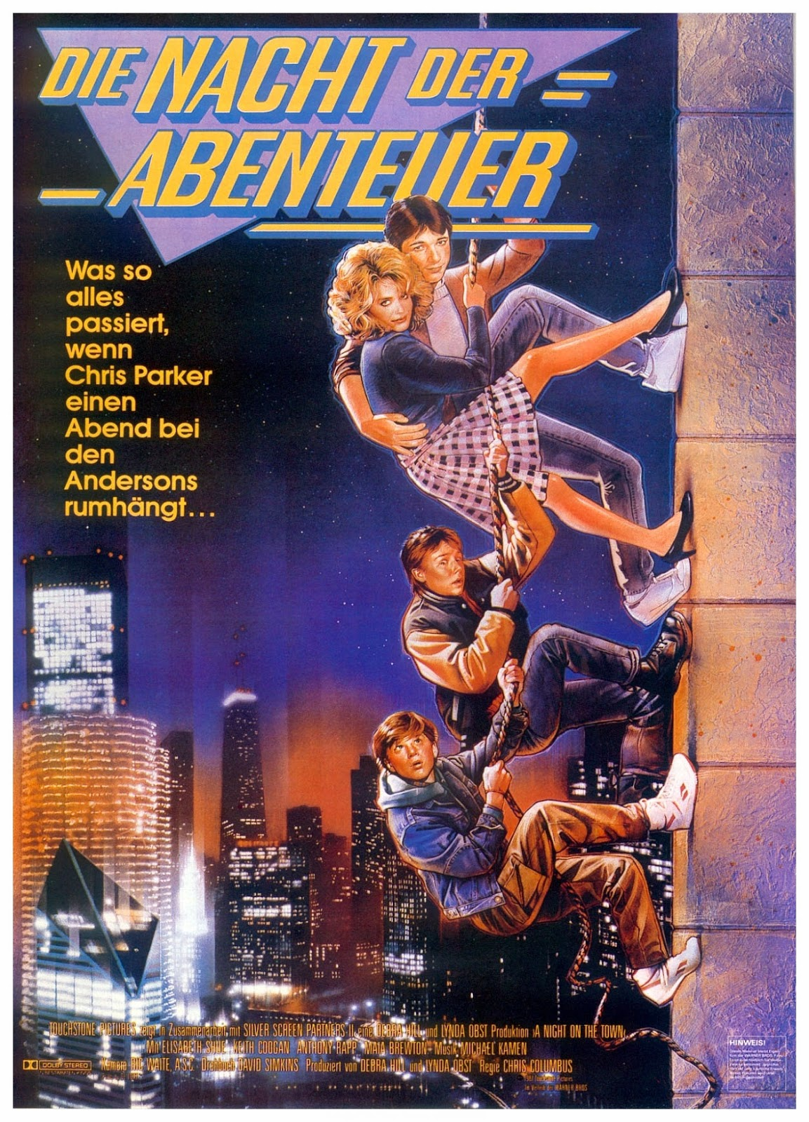 adventures in babysitting dir chris columbus 1987 discreet die nacht der abenteuer german poster via carteles peliculas click the poster for a larger image