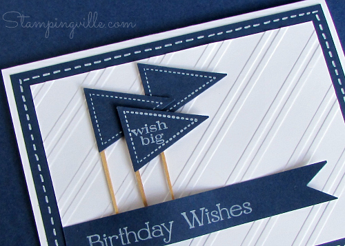 Embossed stripes add interest to a plain white background
