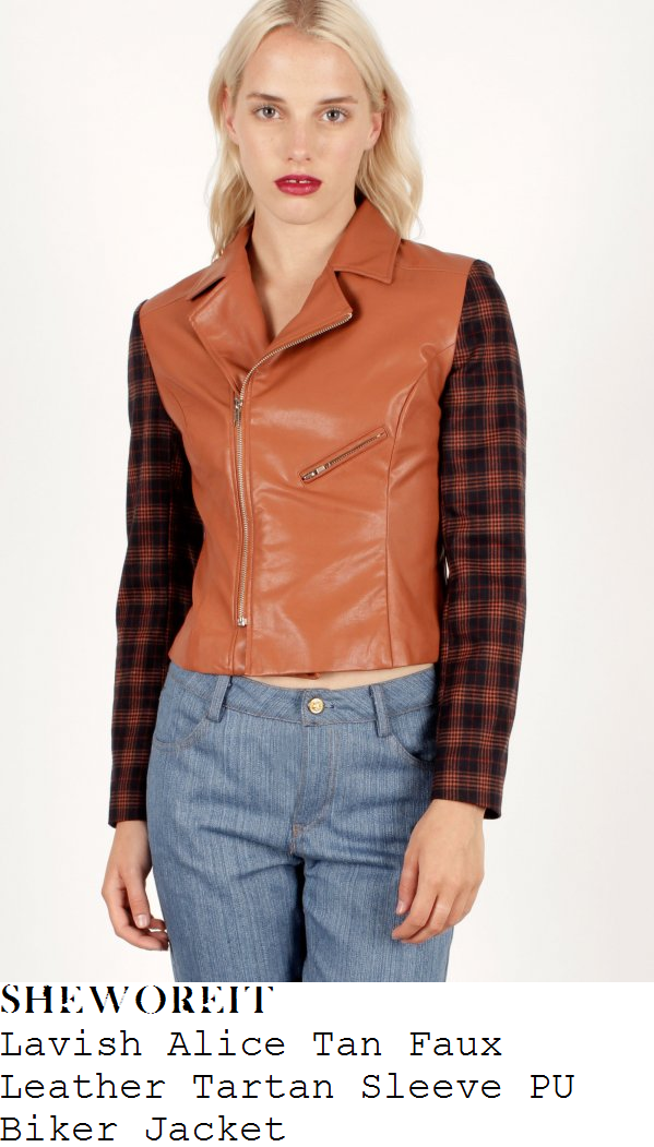 sam-faiers-tan-tartan-sleeve-leather-biker-jacket-towie