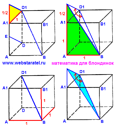 Куб и угол между прямыми. Два прямоугольных треугольника на гранях куба, диагональ куба и искомый угол в треугольнике.