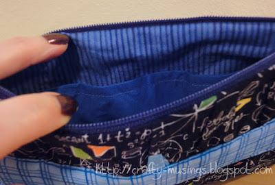 Noodlehead Gathered Clutch, inside view of blue