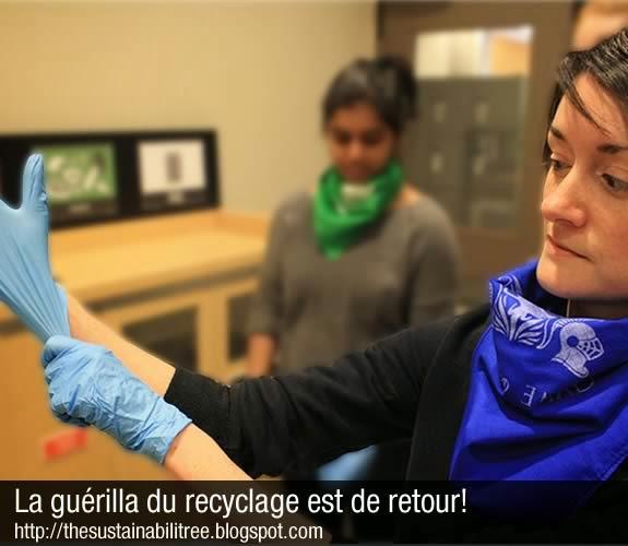 uOttawa, guérilla du recyclage, RecycloMania, gants blue