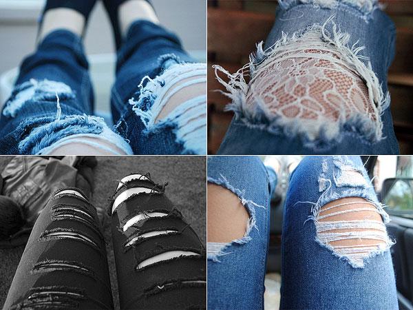 Usando jeans rasgado de maneira fashion
