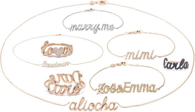 name necklace bracelet ring