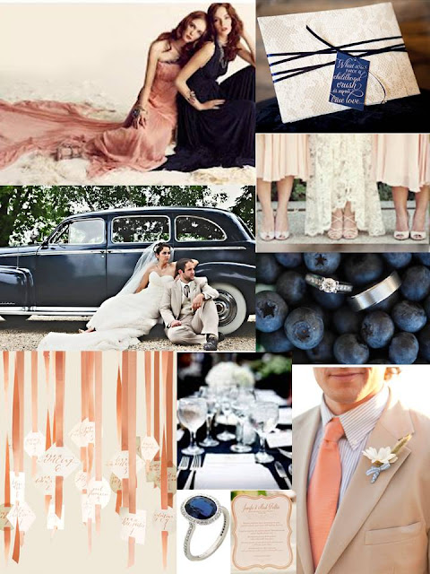 navy and peach inspiration board, navy inspiration board, peach inspiration board