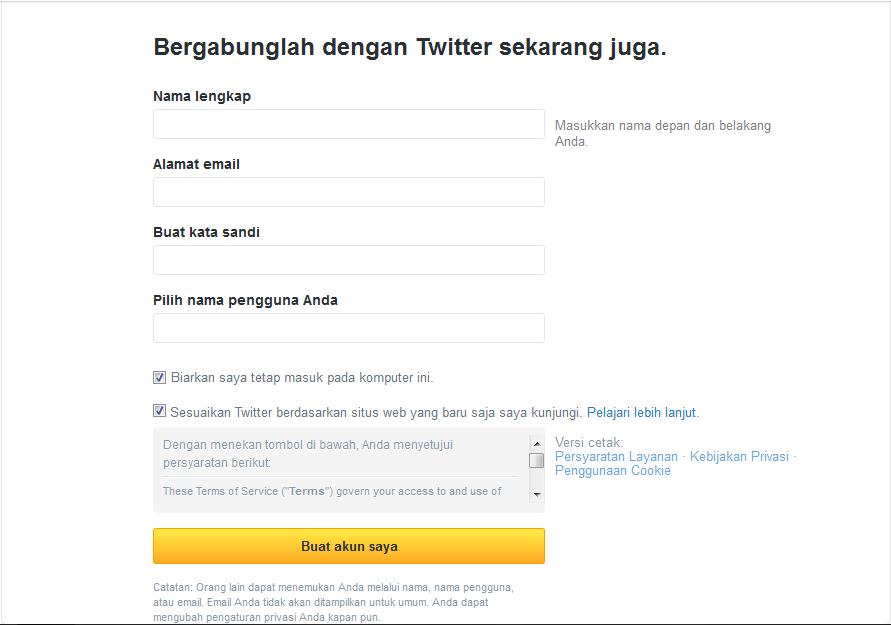 form pendaftaran twitter