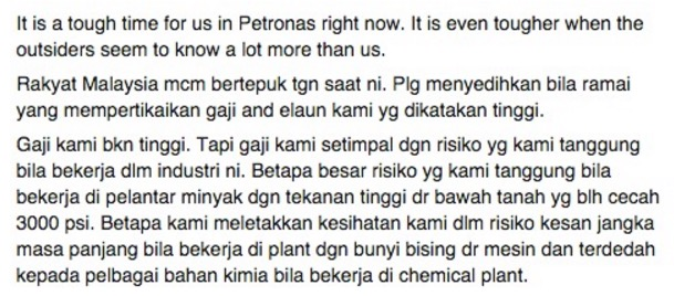 Pendedahan pekerja Petronas mengenai elaun dan gaji mereka