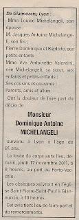 Décès Michelangeli Dominique