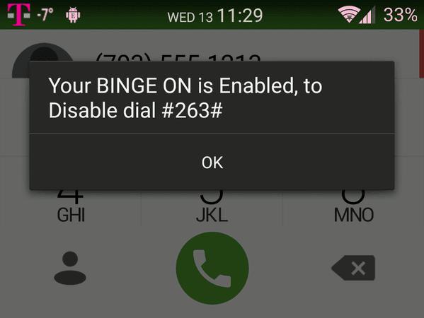 Binge On USSD Code