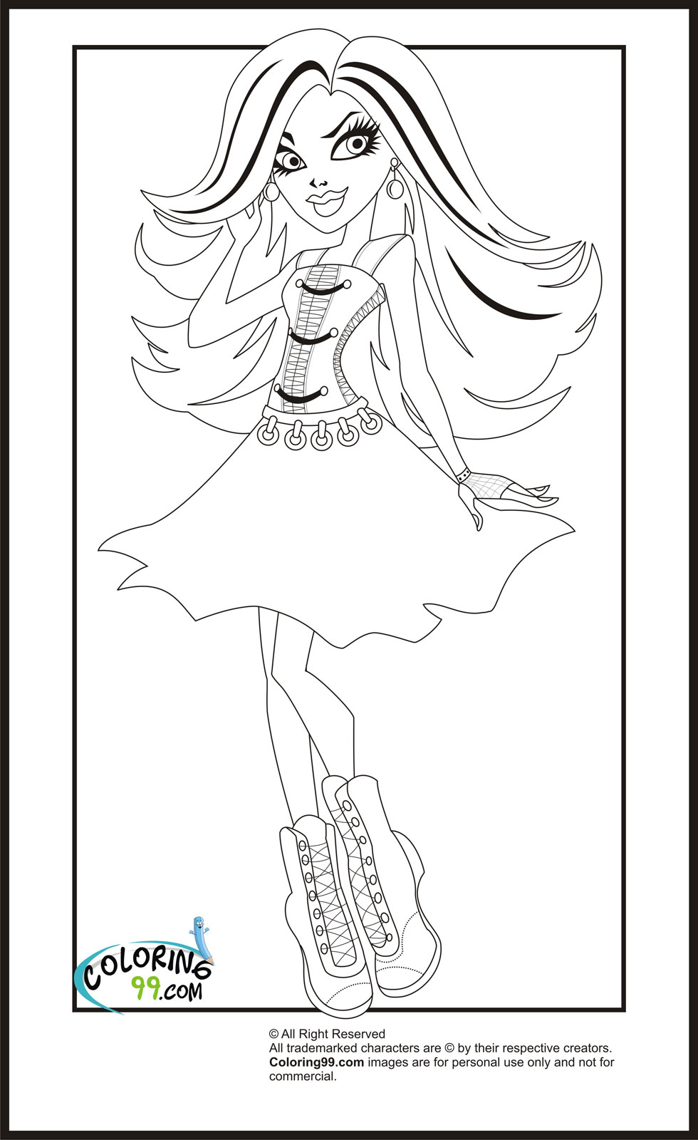 easy monster high coloring pages - photo#1