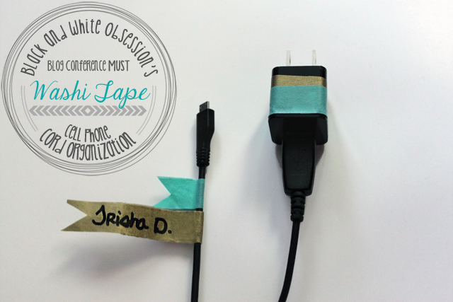 Super Simple Washi Tape project: Cord Organization, perfect for vacations, blog conferences, and fighting over cellphone cords! | www.blackandwhiteobsession.com #simple #easy #washi_tape #washitape