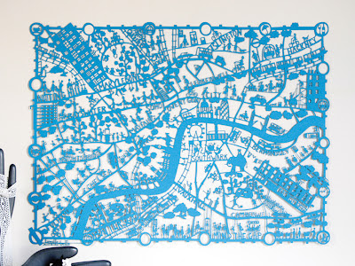 London Turquoise Paper Cut