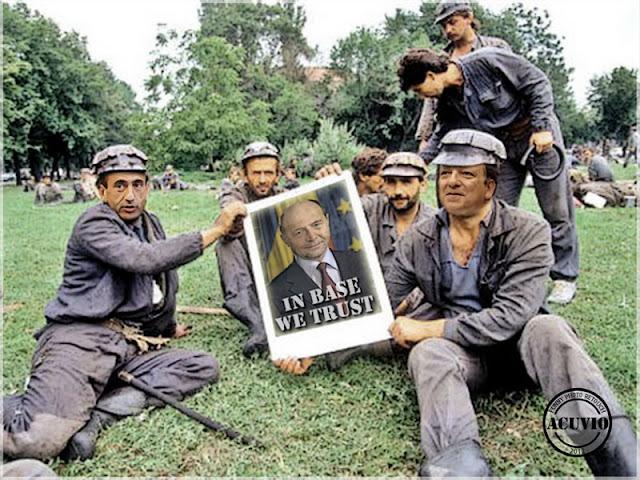 Funny photo Mineriada Traian Băsescu cu Philip Gordon şi Jose Manuel Barroso