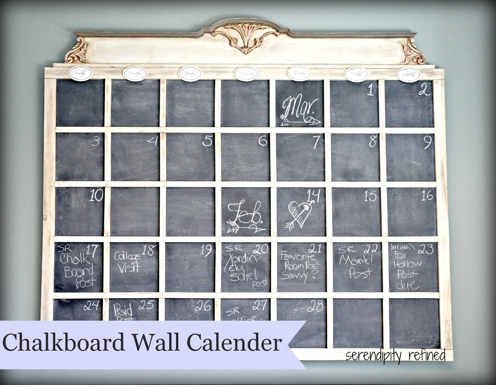 Chalkboard Calendar Wall : Serendipity refined diy chalkboard wall calender