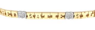14k gold family name bracelet