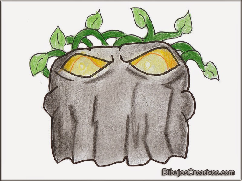 dibujos coloreados COMEPIEDRAS PLANTAS VS ZOMBIES